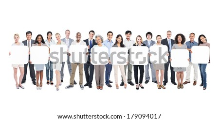 Multi-Ethnic Group Of Business And Casual People Holding 10 Empty Cardboards