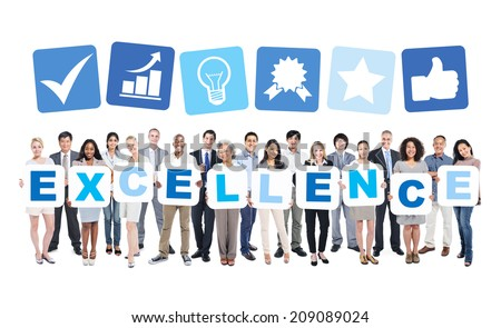 Multi-Ethnic Group Of Business And Casual People Holding 10 Placards That Form Excellence. - stock photo