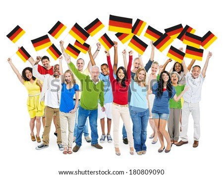 Multi-Ethnic Group of Diverse Happy People Holding National Flag of Germany