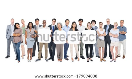 Multi-ethnic Group of Diverse World People Holding 4 Blank Boards