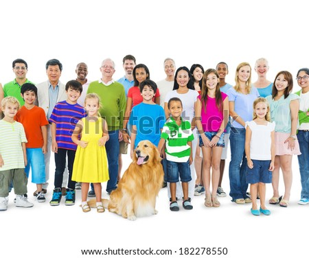 Multi-ethnic Group of Mixed Age People With Golden Retriever Dog - stock photo