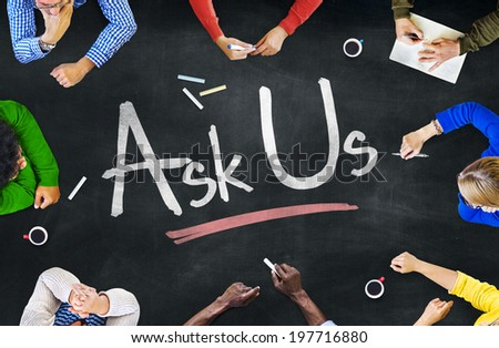 Multi-Ethnic Group of People and Ask Us Concept - stock photo
