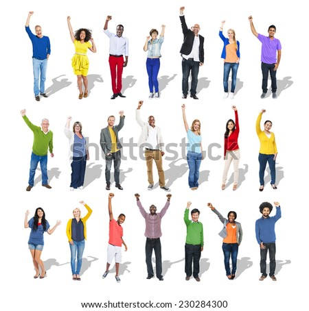 Multi-Ethnic Group of People Arms Raised - stock photo