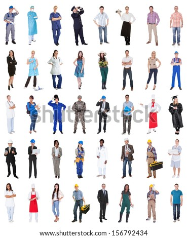 Multi Ethnic Group Of People From Various Professions Over White Background - stock photo