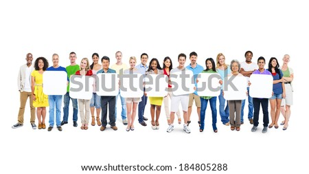 Multi-Ethnic Group Of People Holding 9 Blank Placards - stock photo