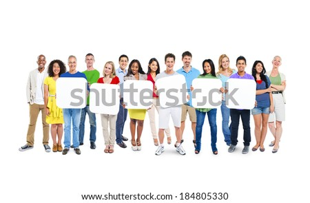 Multi-Ethnic Group Of People Holding 6 Blank Placards - stock photo