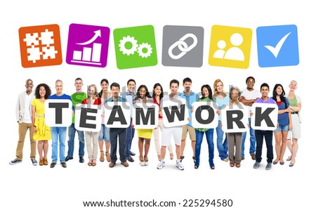 Multi-ethnic group of people holding cardboards forming teamwork and symbols of the related images above. - stock photo