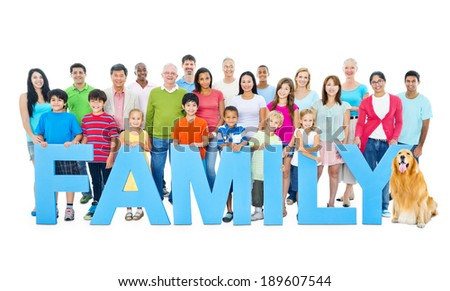 "Multi-ethnic group of people holding ""FAMILY"" letters - stock photo"