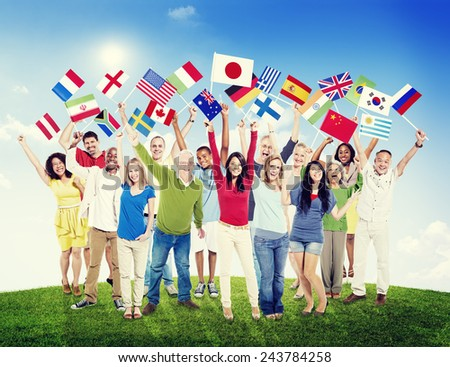 Multi-Ethnic Group of People Holding National Flags Friendship Concept - stock photo