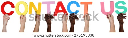 Multi ethnic group of people holding the word Contact Us isolated - stock photo
