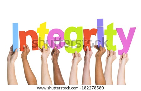 Multi-Ethnic Group Of People Holding The Word Integrity - stock photo