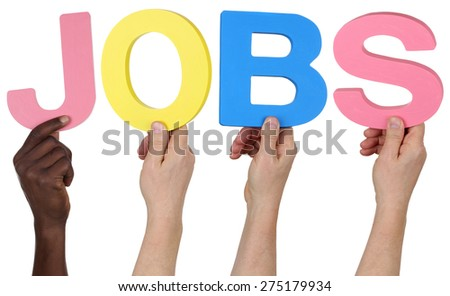 Multi ethnic group of people holding the word jobs isolated - stock photo
