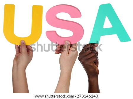 Multi ethnic group of people holding the word USA isolated - stock photo