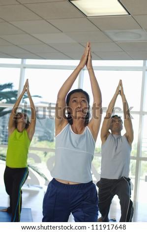 Multi ethnic group of people practicing yoga - stock photo