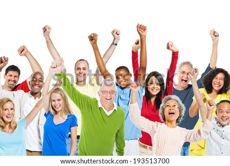 Multi-Ethnic Group Of People Raising Their Arms And Expressing Positivity - stock photo