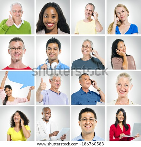 Multi-Ethnic Group Of People Social Networking And Expressing Positivity