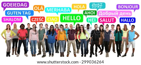 Multi ethnic group of smiling young people saying hello in different languages - stock photo