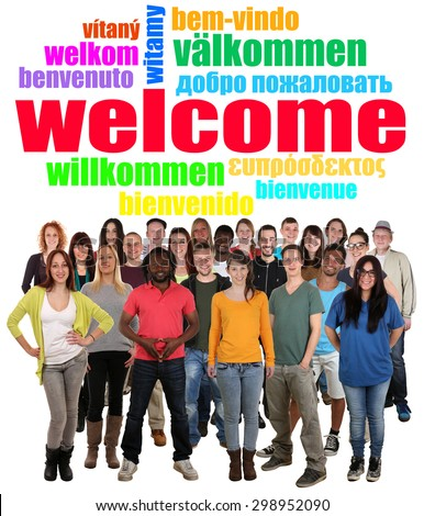 Multi ethnic group of smiling young people saying welcome in different languages in tag cloud - stock photo