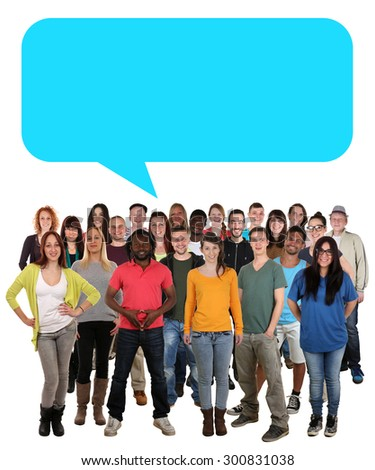 Multi ethnic group of smiling young people talking with speech bubble and copyspace - stock photo