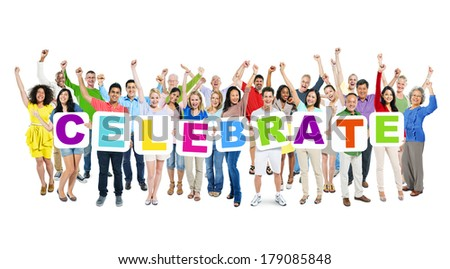 Multi-ethnic Group of World People Holding Boards with Celebrate - stock photo