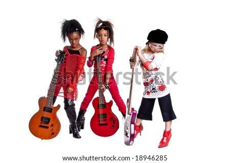 Multi ethnic group of young girls playing Girl band dress up - stock photo