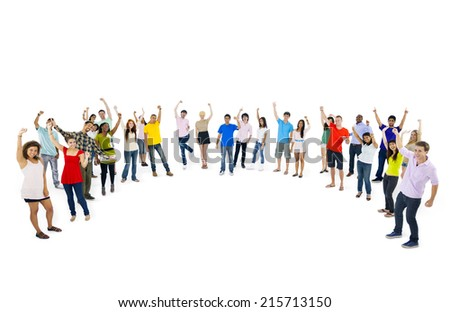 Multi-ethnic group of young people standing in curve - stock photo