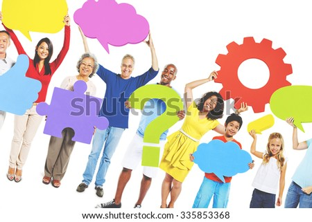 Multi-Ethnic Group People Speech Bubbles Concept