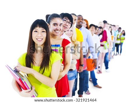 Multi-Ethnic Group Student Standing Line Friends Concept - stock photo