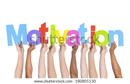 Multi-Ethnic Hands Holding Colorful Letters To Form Motivation - stock photo