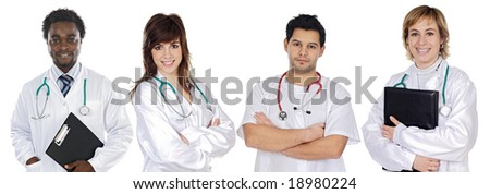 Multi-ethnic medical team a over white background - stock photo