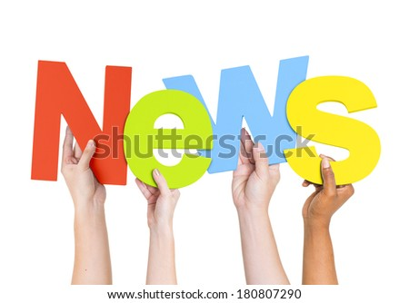 Multi Ethnic People Holding The Word News - stock photo