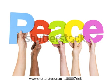 Multi Ethnic People Holding The Word Peace - stock photo