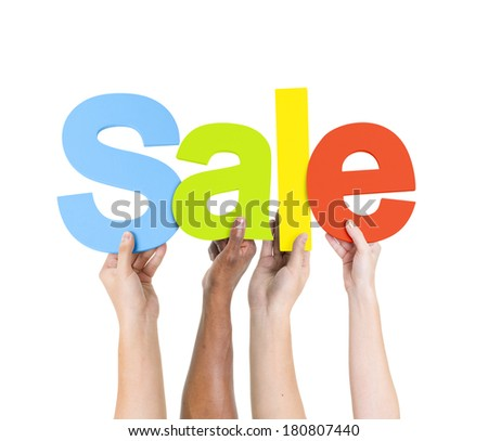 Multi Ethnic People Holding The Word Sale - stock photo