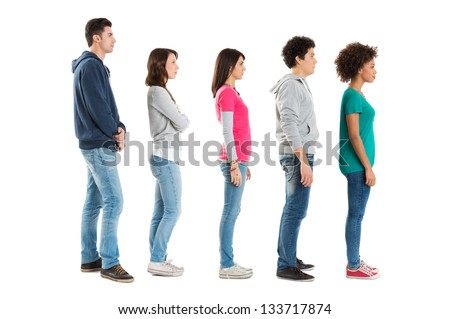 Multi Ethnic People Standing In A Row Isolated On White Background - stock photo