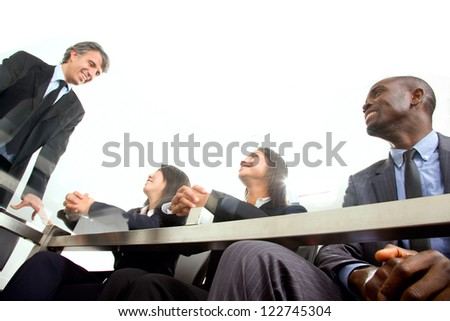 multi-ethnic team during a meeting - stock photo