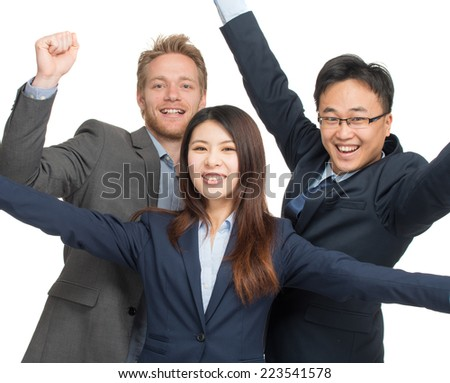Multi-ethnic team smiling with hands up. Business success concept. Isolated on white.