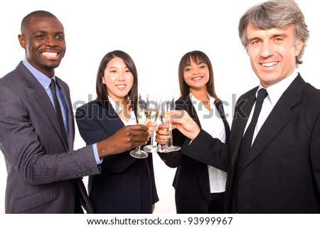 multi-ethnic team toasting - stock photo