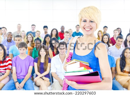 Multi-ethnic young people in lecture room