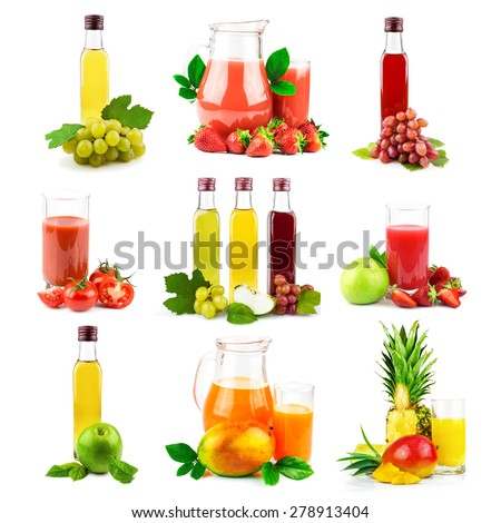Multi fruit and vegetable juice with tropical fruit and vegetable, set isolated on white background - stock photo