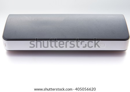 multi functional mobile battery pack named as power bank with USB ports and a series of LED indicator for power volume in charging of personal mobile terminals  - stock photo