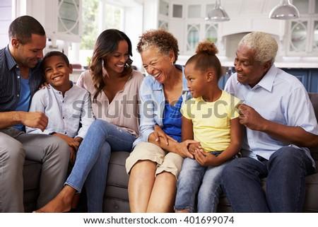 Multi generation black family at home - stock photo