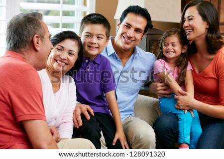 Multi Generation Family Relaxing At Home Together - stock photo