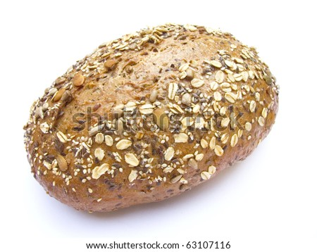 multi - grain bread isolated on white background