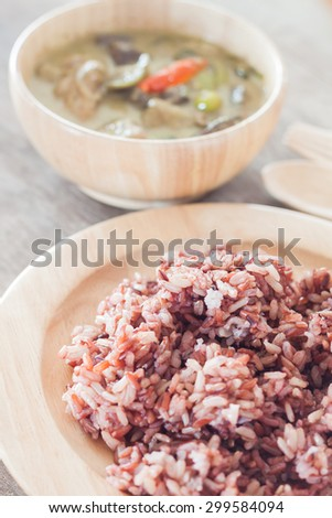 Multi grains berry rice with green curry, stock photo