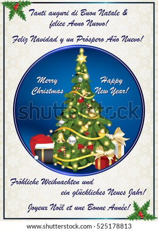 Multi language classic winter holiday greeting stock illustration multi language classic winter holiday greeting card merry christmas and happy new year m4hsunfo