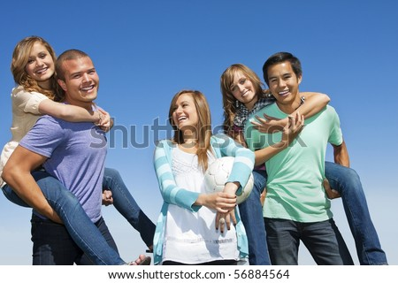Multi-racial group Having Fun together - stock photo