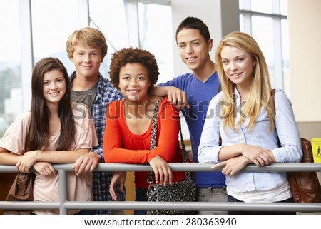 Multi racial student group indoors - stock photo