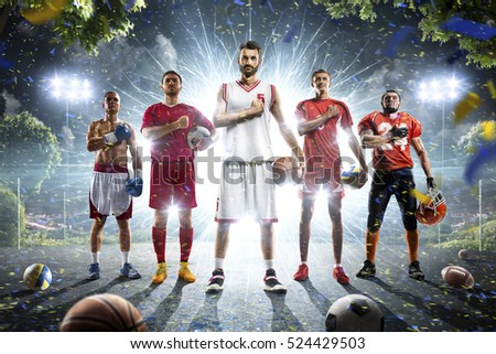 Multi sports collage boxing basketball soccer football volleyball