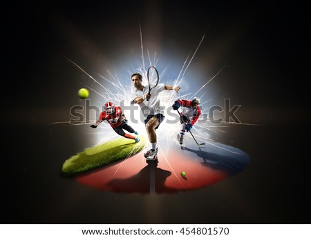 Multi sports collage from tennis hockey American football - stock photo