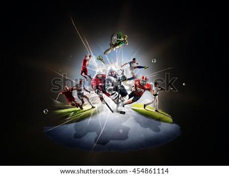 Multi sports collage soccer basketball hockey footbal baseball dirt bike
